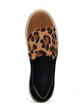 Noor Brown Leopard Calf Hair